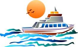 Barca con il sole royalty illustrazione gratis