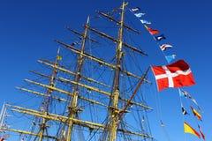 Barca con la bandierina danese Fotografia Stock