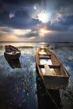 Barca con un bello cielo. Fotografie Stock