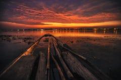 Barca con un bello cielo Fotografia Stock Libera da Diritti