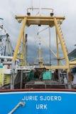 Barca da vendere in porto Fotografie Stock Libere da Diritti
