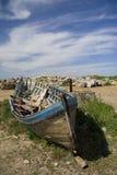 Barca dal cielo blu in Bulgaria Fotografie Stock