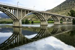 Barca de Alva – Bridge on Douro River. Bridge Almirante Sarmento Rodrigues, the first highway bridge on the Portuguese section of the Douro River, in stock photography