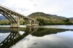 Barca de Alva – Bridge on Douro River. Bridge Almirante Sarmento Rodrigues, the first highway bridge on the Portuguese section of the Douro River, in royalty free stock photo