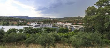 Barca de Alva – Cruise Terminal and Bridge. View of the river cruise terminal and bridge, in Barca de Alva, near the Spanish border, Portugal stock image