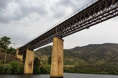 Barca de Alva – International Railway Bridge. View of the international railway bridge over the Agueda River, connecting Portugal to Spain and now royalty free stock photography