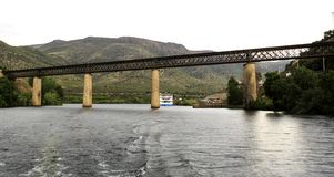 Barca de Alva – International Railway Bridge. View of the international railway bridge over the Agueda River, connecting Portugal to Spain and now stock images