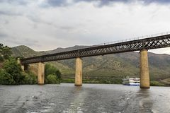 Barca de Alva – International Railway Bridge. View of the international railway bridge over the Agueda River, connecting Portugal to Spain and now royalty free stock photo