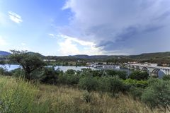Barca de Alva – Summer Storm approching Town. View of a summer storm rapidly approaching the town of Barca de Alva, near the Spanish border with Portugal royalty free stock photos