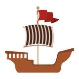 Barca de madeira com bandeira vermelha ilustração royalty free