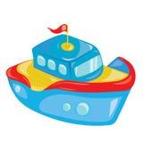 Barca del fumetto su fondo bianco Una nave del giocattolo per i bambini Illustrazione variopinta di vettore per i bambini illustrazione vettoriale