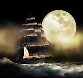 Barca del pirata sotto la luna illustrazione di stock
