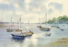 Barca dell'acquerello sull'illustrazione di vettore dell'acqua di fiume Fotografie Stock Libere da Diritti