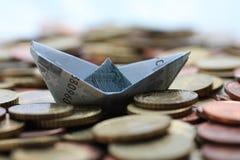 Barca dell'euro cinque Fotografia Stock Libera da Diritti