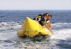Barca della banana-banana dell'acqua. Fotografie Stock Libere da Diritti