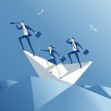 Barca della carta e del gruppo Fotografia Stock
