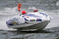 Barca della corsa di waterski F1 Fotografie Stock