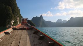 Barca della diga di ratchaprapa del suratthani Tailandia Fotografie Stock Libere da Diritti