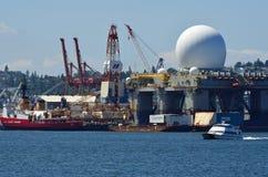 Barca della guardia costiera al porto di Seattle Fotografia Stock