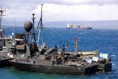 Barca della marina nel porto di Ushuaia Immagini Stock Libere da Diritti