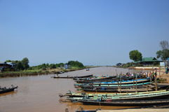 Barca della palude in Inle Fotografie Stock