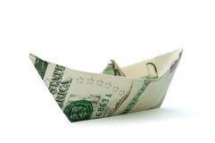 Barca di carta del dollaro Fotografia Stock