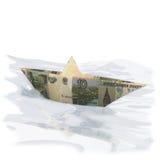 Barca di carta fatta di 10 rubli Fotografie Stock
