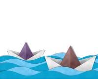 Barca di carta in mare Fotografia Stock