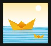 Barca di carta Origami Fotografia Stock