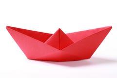 Barca di carta rossa Immagini Stock