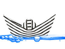 Barca di carta su acqua Immagine Stock