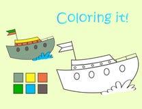 Barca di divertimento dell'immagine di coloritura Immagini Stock