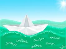 Barca di documento nel mare Immagini Stock