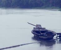 Barca di fila nel fiume Fotografia Stock