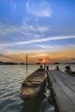 Barca di legno nel lago Songkhla Immagine Stock Libera da Diritti