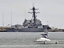 Barca di polizia del porto Fotografia Stock Libera da Diritti
