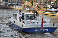Barca di polizia di Amsterdam Immagine Stock Libera da Diritti