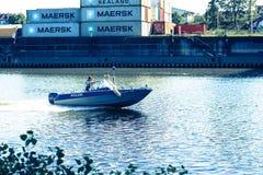 barca di polizia in Germania Fotografia Stock Libera da Diritti