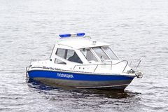 Barca di polizia Parigi Fotografie Stock Libere da Diritti