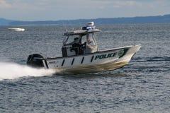 Barca di polizia su acqua 2 Immagini Stock