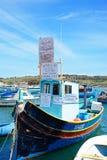 Barca di protesta nel porto di Marsaxlokk, Malta Fotografie Stock Libere da Diritti