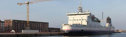 Barca di Seafrance al quay a Dunkerke Immagine Stock Libera da Diritti