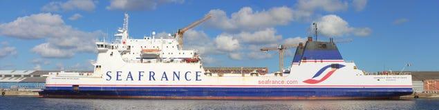Barca di Seafrance al quay a Dunkerke Fotografia Stock