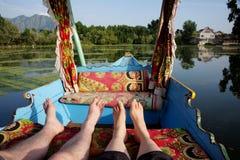 Barca di Shikara nel Kashmir India fotografia stock libera da diritti