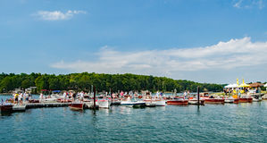 Barca di Smith Mountain Lake Antique Classic e festival 2016 fotografia stock libera da diritti