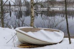 Barca di Snowy Immagini Stock Libere da Diritti