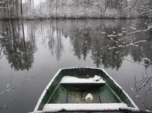 Barca di Snowy Immagine Stock