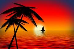 Barca di tramonto illustrazione di stock