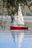 Barca di vela e del ragazzo Fotografia Stock