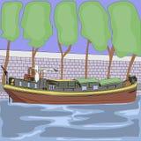 Barca do vetor no rio Seine Fotos de Stock Royalty Free